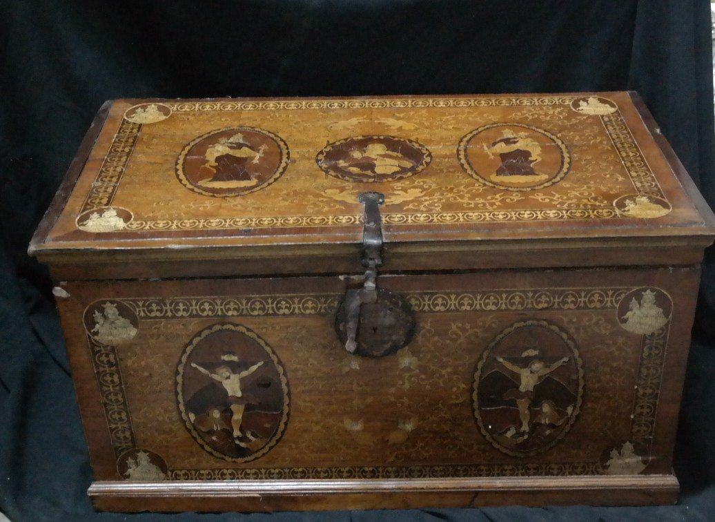 Antique Peruvian Chest. Wood with inlay. Circa 1800's