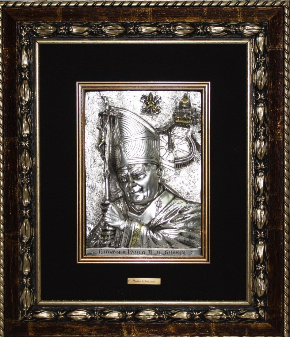 "Original Sterling Silver Plated relief ""Pope John Paul"