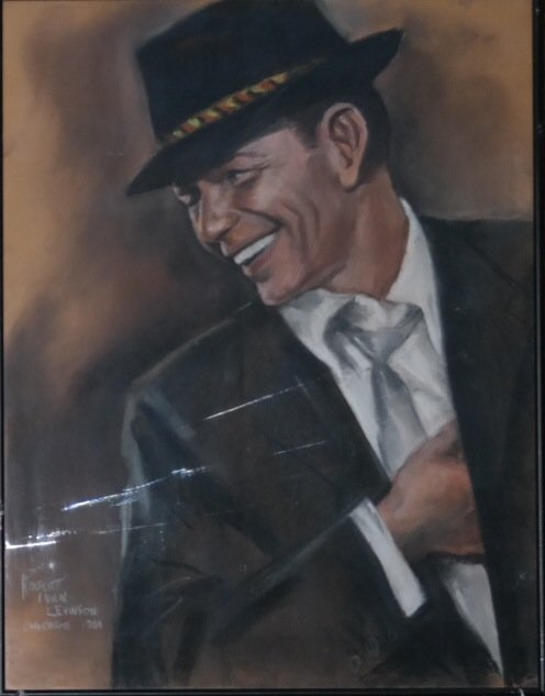 "Original pastel on paper by Robert Levenson ""Sinatra"""