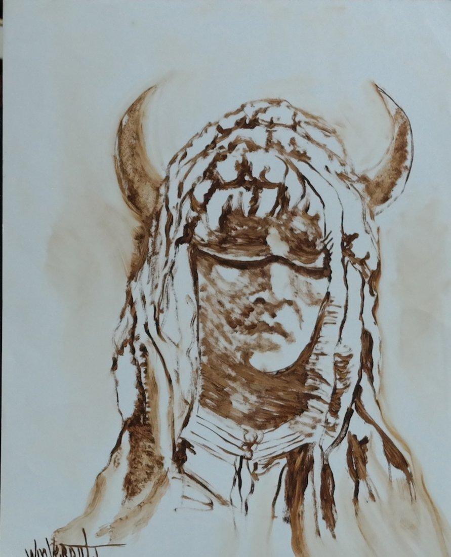 "Original William Verdult oil on paper, ""Buffalo Son"""