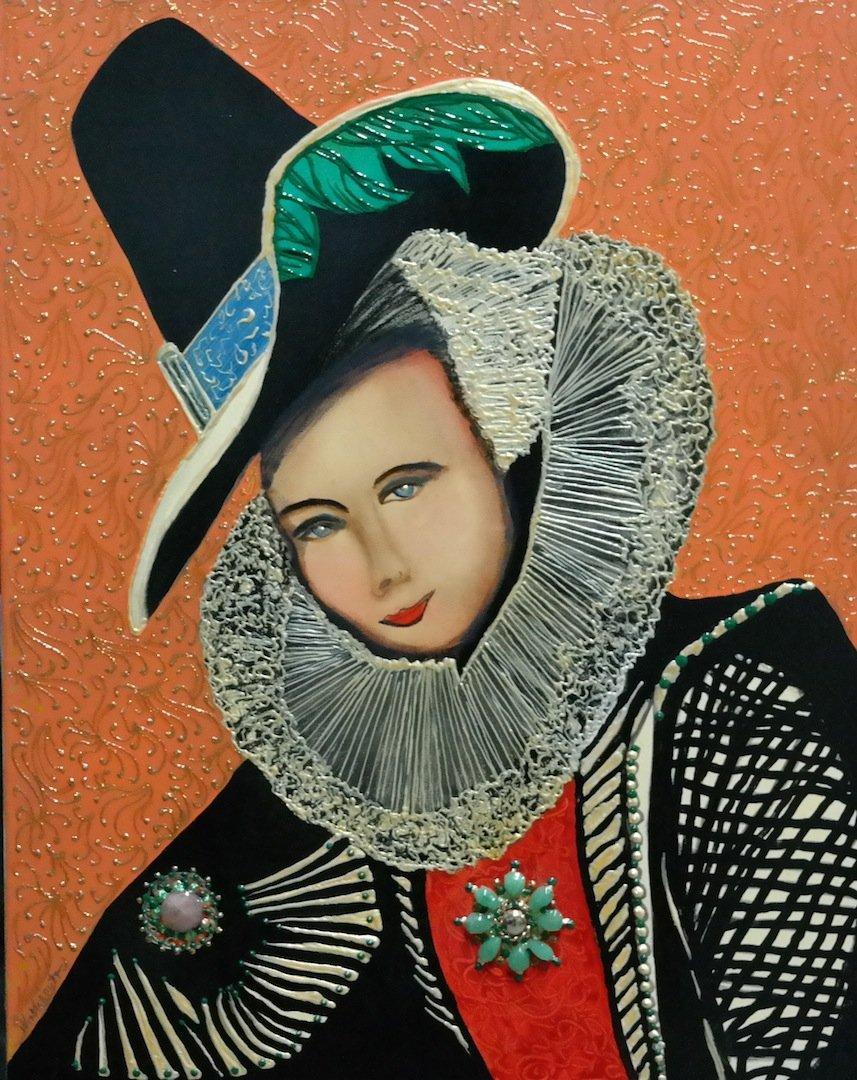 "Vintage Original William Verdult ""Royal Queen"" Oil on"