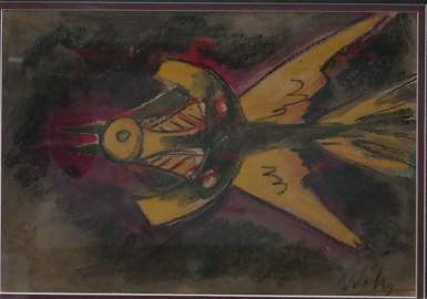 Gouache on Paper signed Wilfredo Lam. Vintage