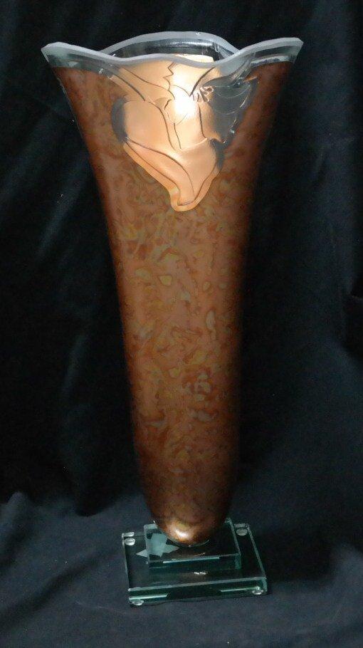 Crystal and 24kt Gold Custom Vase