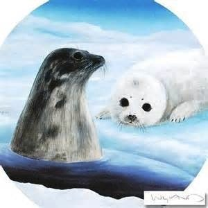 "Wyland Original Lithograph ""Harp Seals"" Retails $800 w/"