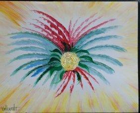 """Original William Verdult oil on paper, """"The Rose"""""""
