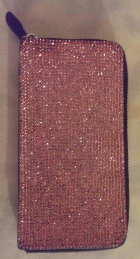 Zipper wallet encrusted with pink Swarovski Crystals