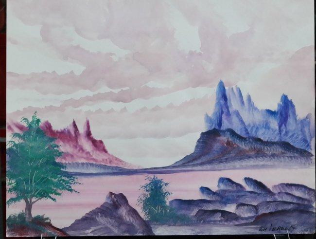 "Original William Verdult oil on paper, ""Peaceful Waters"