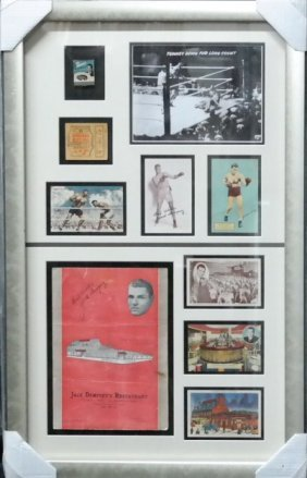 Jack Dempsey Collage with autograph Menu and other vint