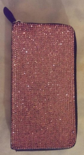 Zipper wallet encrusted with pink Swarovski Crystals