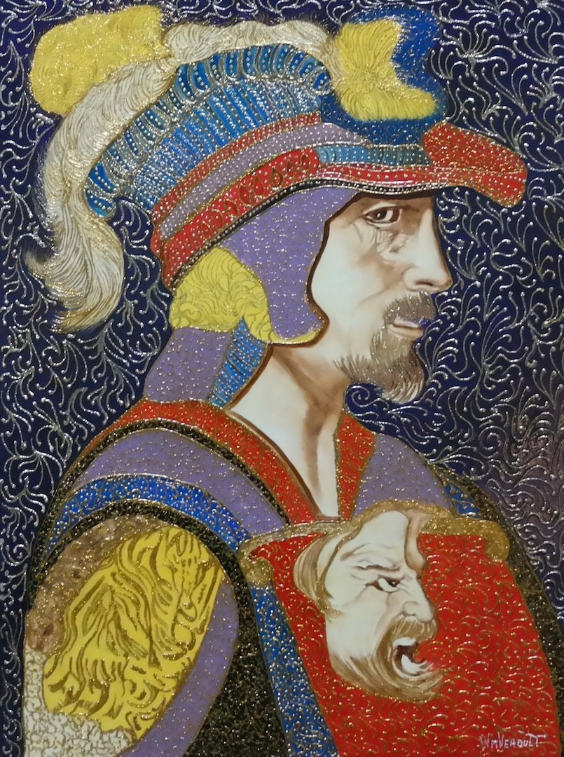 """Original Verdult """"Renaissance"""" oil panel"""