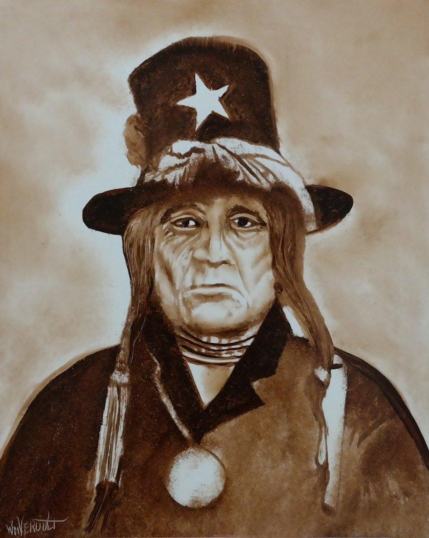 """Rare Original Verdult """"Chief Tosh Camache"""" oil panel"""