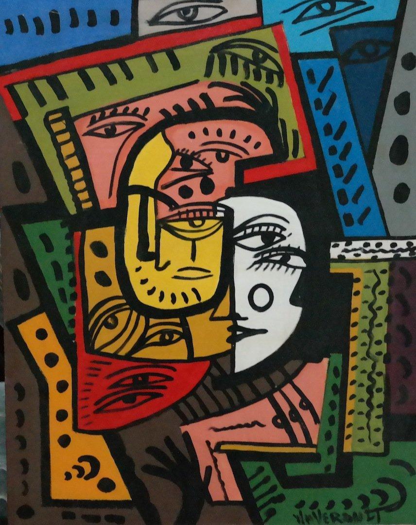 "Rare Original Verdult ""Silent Conversation"", oil canvas"