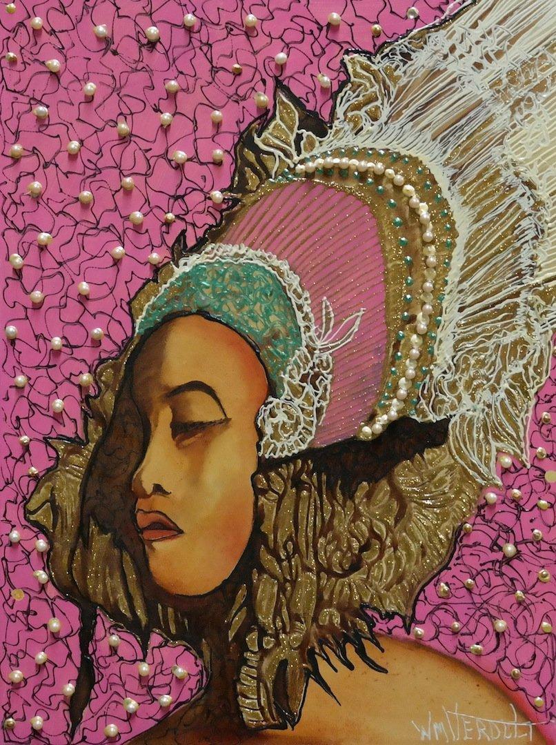 """Original Verdult """"Poia Princess""""oil canvas"""