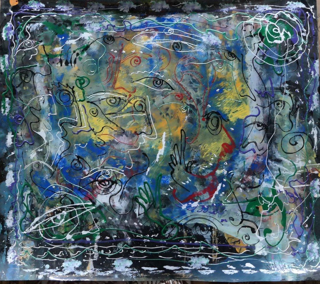 """Unique Original Verdult """"Untitled"""" Oil Plastic"""
