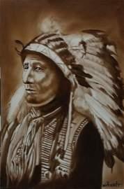 "Verdult Original oil canvas ""Black Bear Chief"""