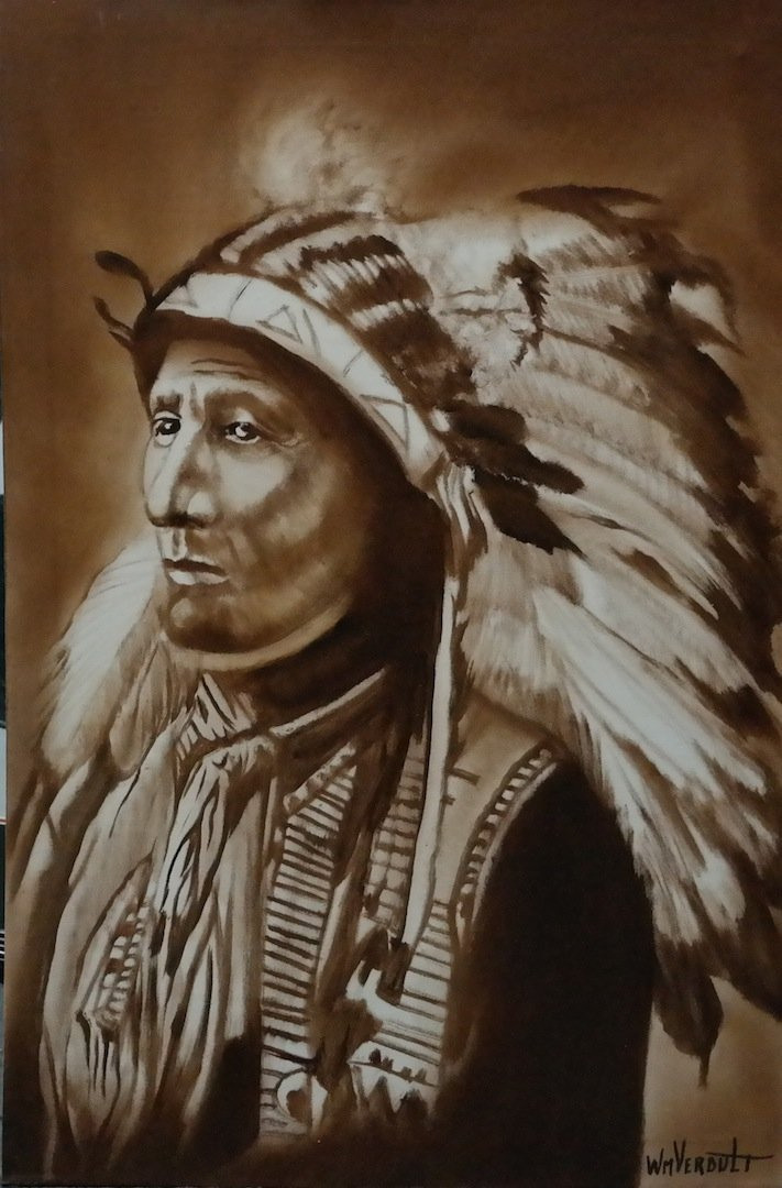 "Verdult Original oil canvas ""Black Bear Chief"""