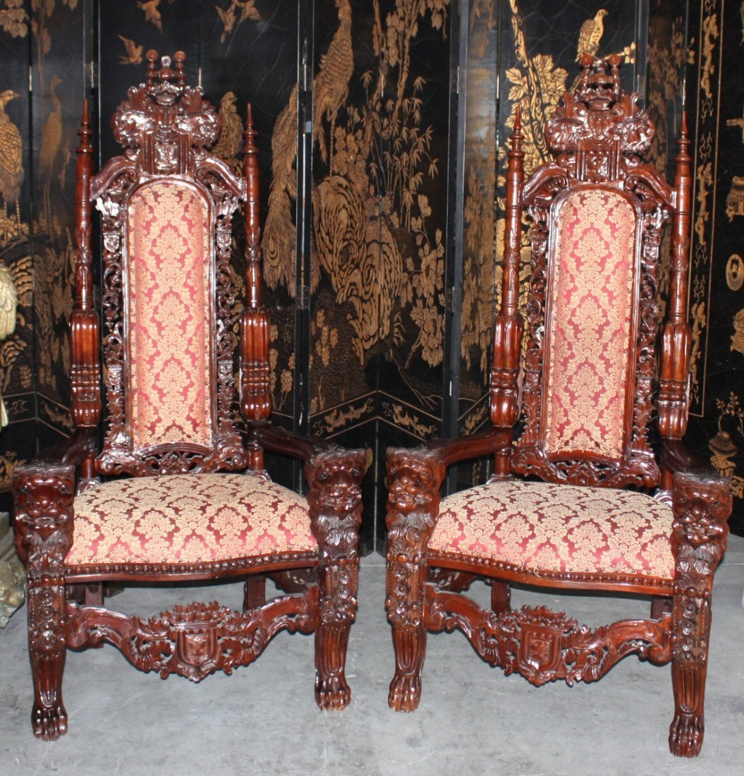 Pair Handcarved Kings Chairs