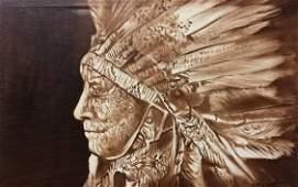"""Original Verdult """"Eagle Sioux"""" oil canvas."""