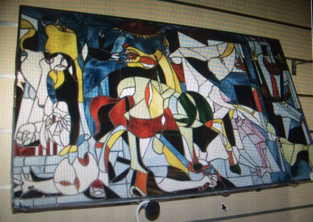 "STEVE KAUFMAN STAINED Glass ""Picasso Guernica"""