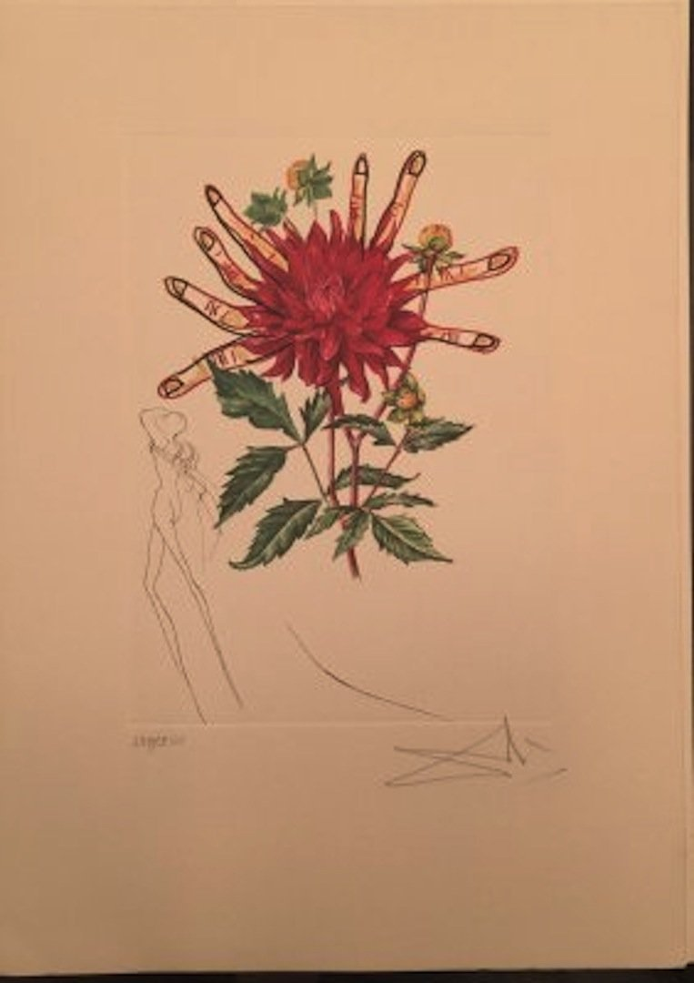 """Salvador Dali """"Surrealistic Flowers"""" on paper, signed."""