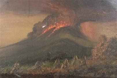 Oil on postcard, Signed Jose Maria Velasco. Detailed.
