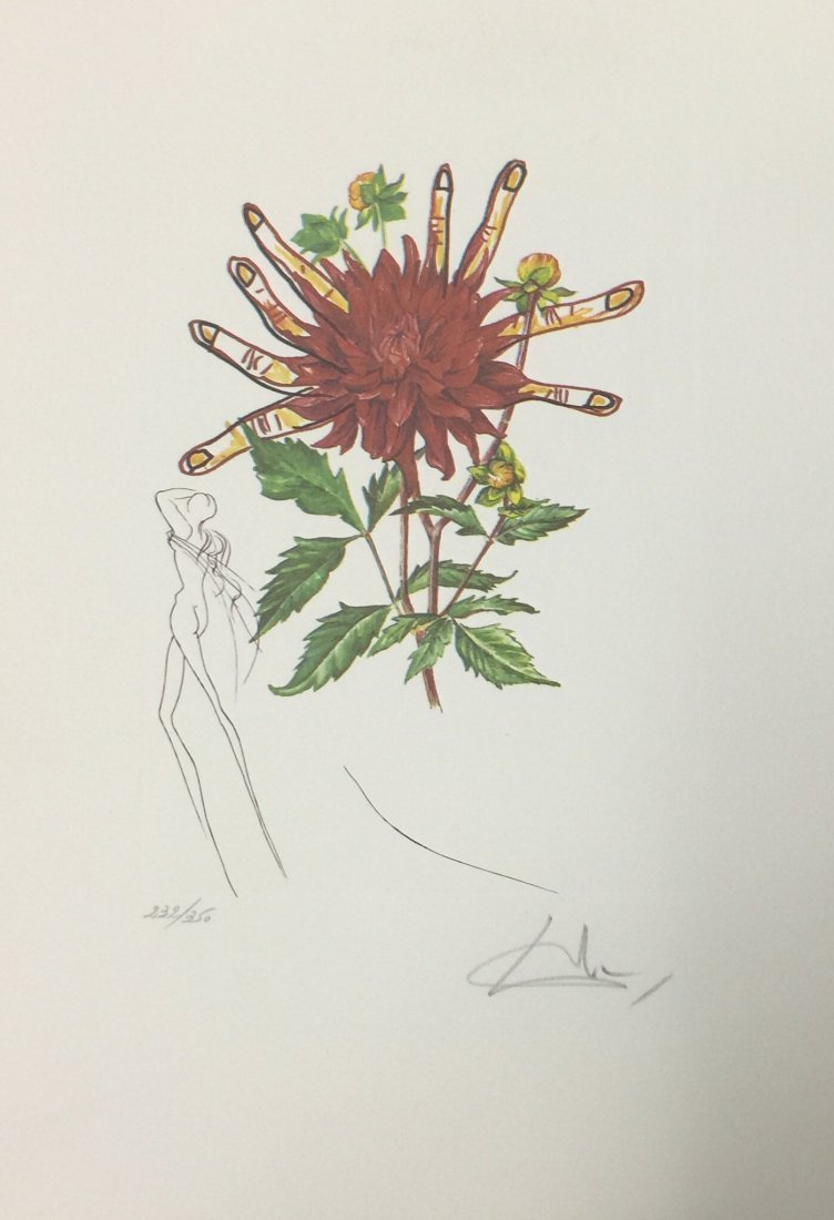 "Salvador Dali ""Surrealistic Flowers"" on paper, signed"