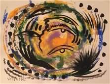 """Original Verdult """"Grasp of Time"""" watercolor paper"""