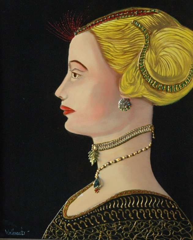 "Original Verdult ""Maria""oil board, bejeweled"