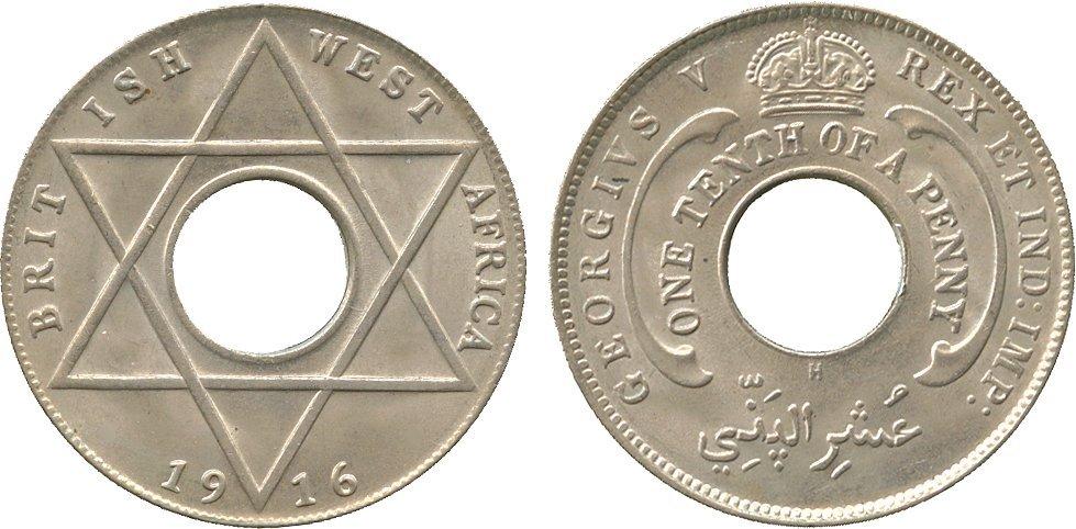 AFRICA. British West AFRICA. Cupro-nickel 1/10-Penny,
