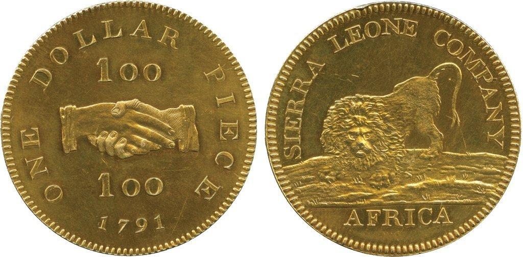 AFRICA. Sierra Leone. Copper-gilt Proof Dollar, 1791 (