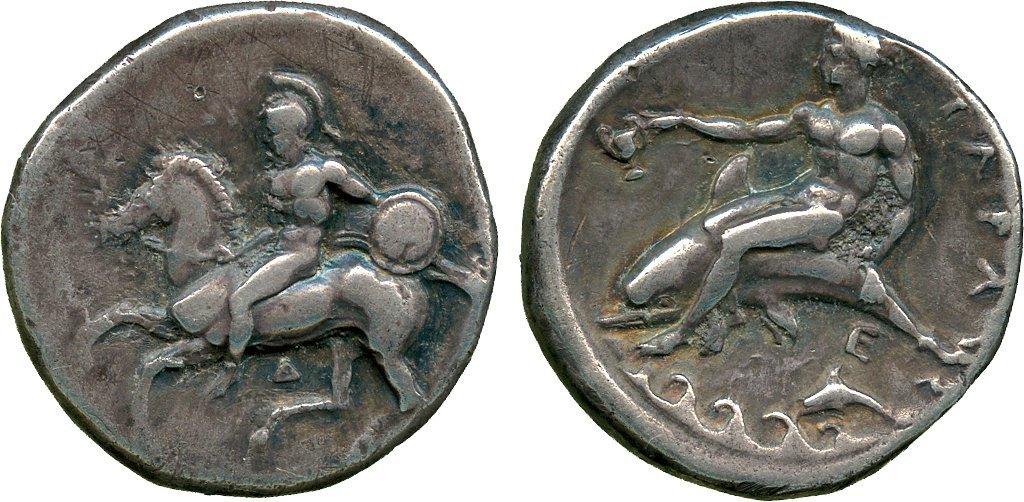 ANCIENT COINS. Greek. Calabria, Tarentum (c.355-340