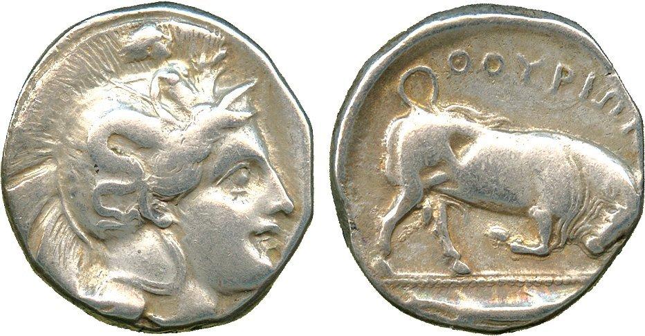 ANCIENT COINS. Greek. Lucania, Thurium (c.443-400 BC),