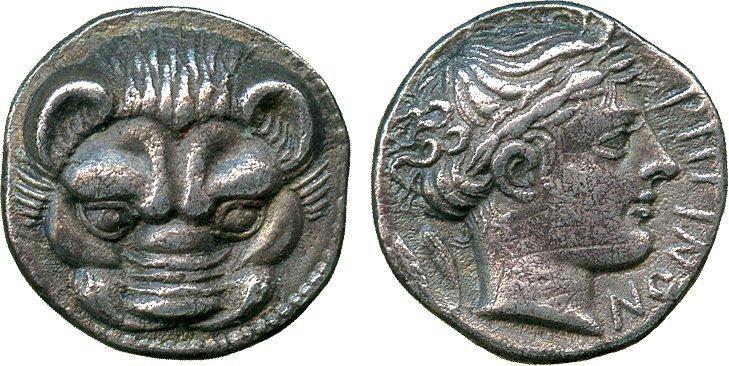 ANCIENT COINS. Greek. Bruttium, Rhegion (c.415-387 BC),