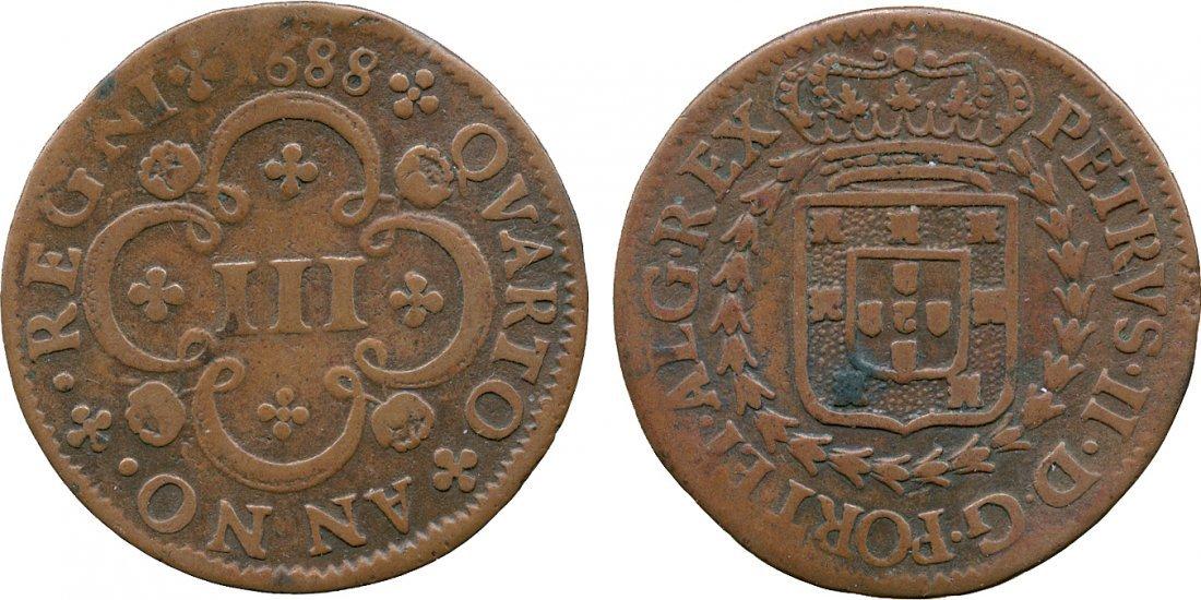 EUROPEAN COINS PORTUGAL Pedro II (1683-1706), Copper
