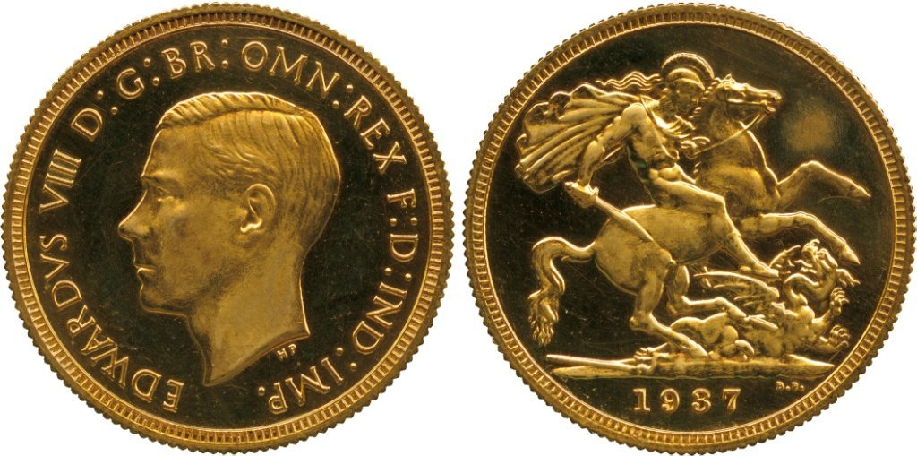 BRITISH COINS, MILLED GOLD SOVEREIGNS, Edward VIII