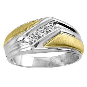 14KT GOLD & STERLING SILVER & DIAMOND RING