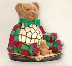 Cute Green Bowed Teddy Bear Lamp
