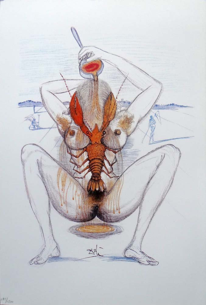 """Salvador Dali- """"Nude and Lobster"""""""