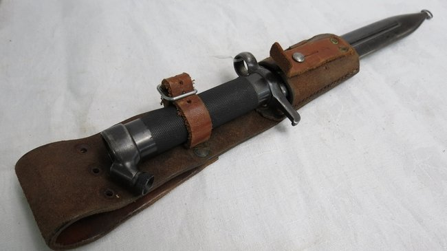 A Swedish 1896 Mauser bayonet, scabbard on leather frog