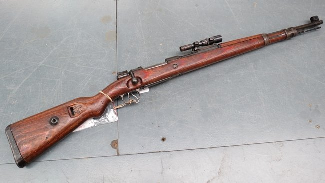 A deactivated Nazi K98 ZSF41 sniper rifle with SS marki