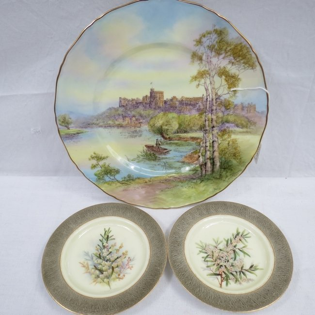 Pair of Botanical Royal Worcester plates retailed by Fl