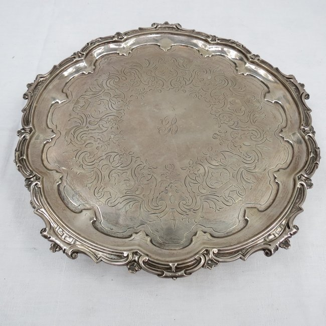 A medium sized silver salver with Gothic decoration, ma