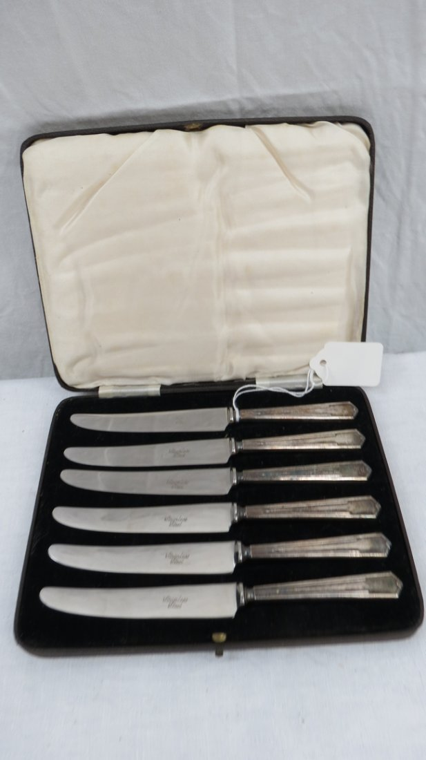 A set of HM silver handled Art Deco tea knives with sta