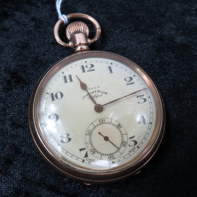 A Rolex pocketwatch in a gold plated case, the dial set