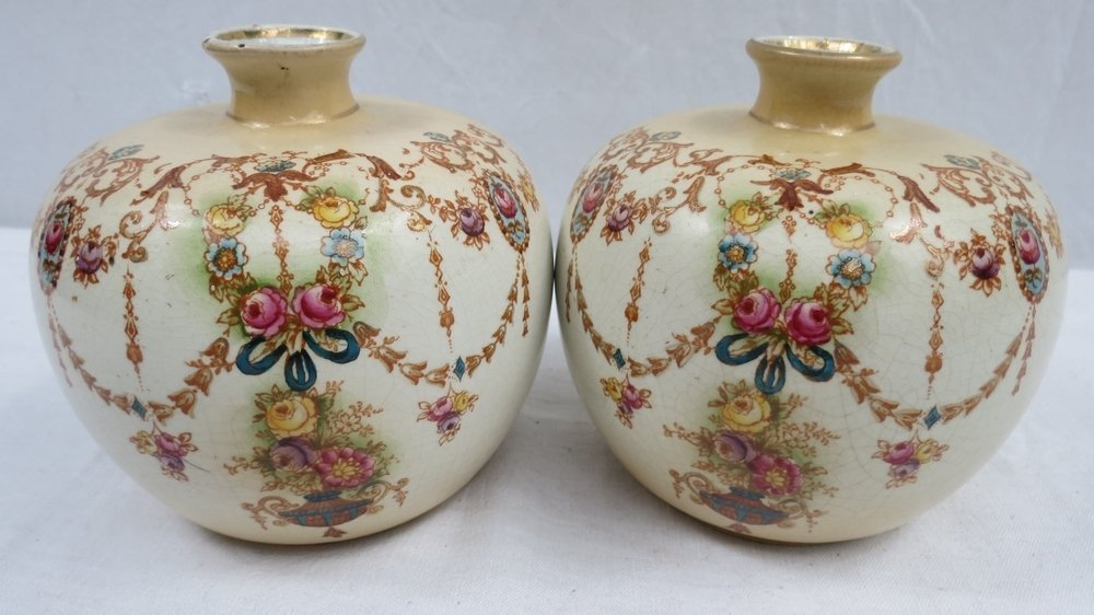 A pair of globular marked vases c1900 wi