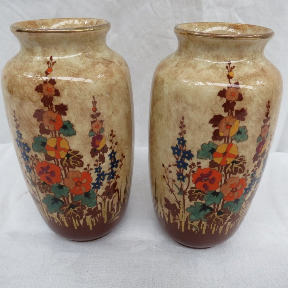A pair of Regal Pottery vases ''Hollyhoc