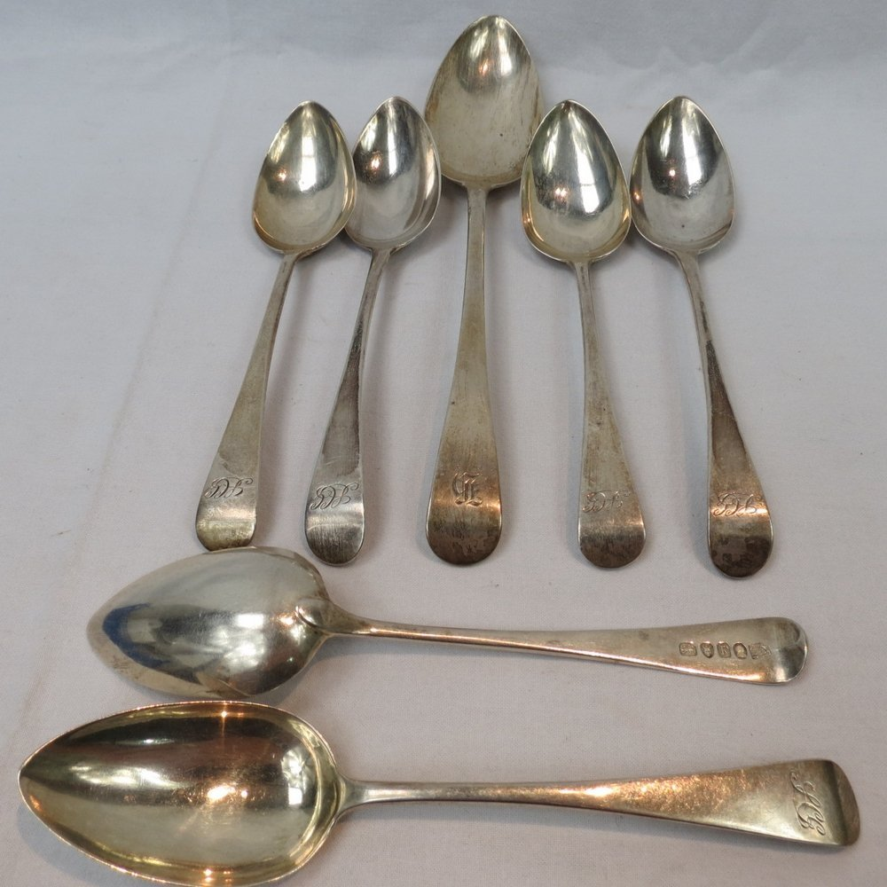 A pair of HM silver Old English dessert