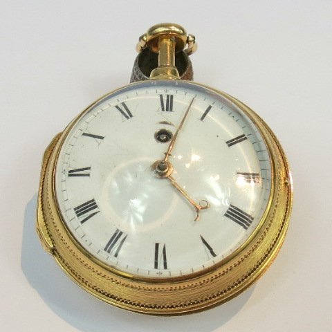 A gold cased dumb repeating pocket watch