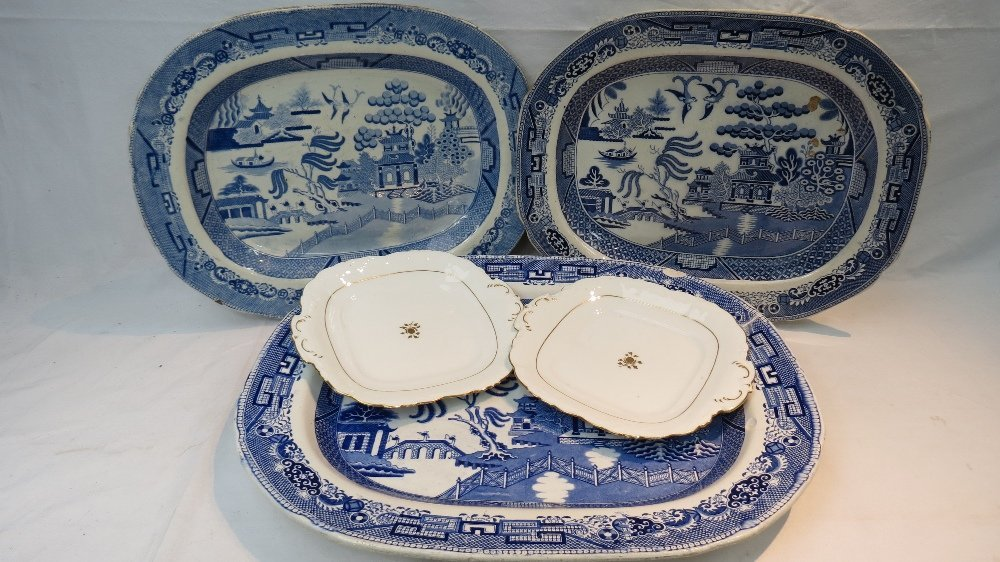 A large 19thC. blue & white printed ashe