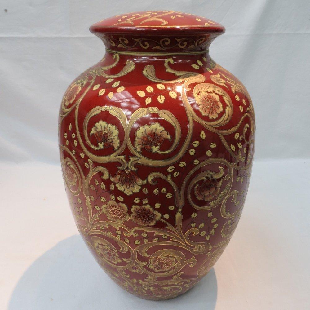 A 20thC baluster shaped ceramic lamp bas